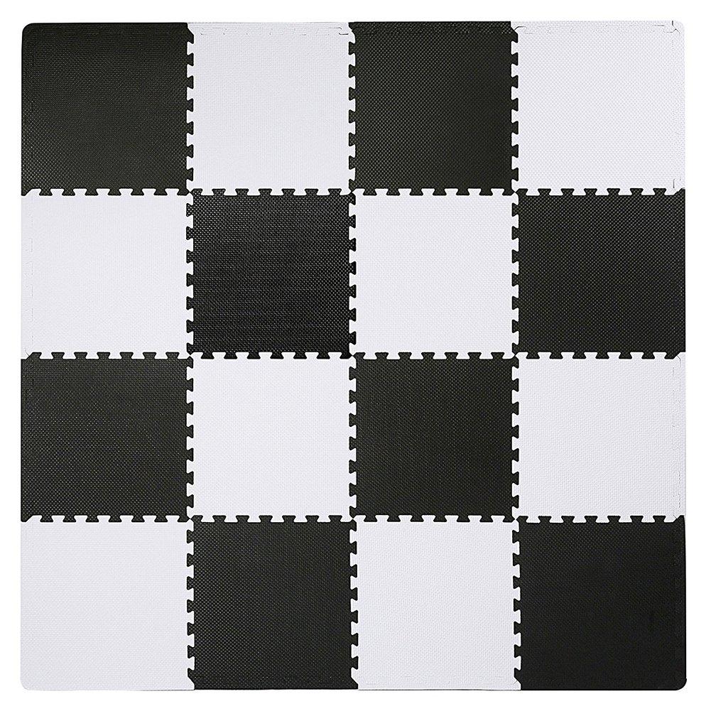 SUPERJARE Interlocking Floor Tiles, 16 Tiles (16 tiles = 16 sq.ft) EVA Foam Puzzle Mat with Borders - Black and White