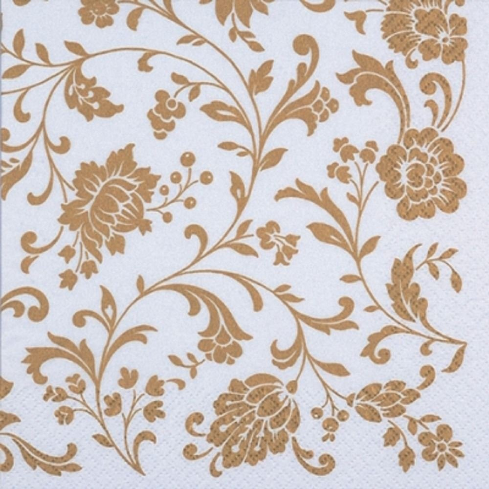4 x Paper Napkins - Arabesque White & Gold - Ideal for Decoupage / Napkin Art Crafty Things