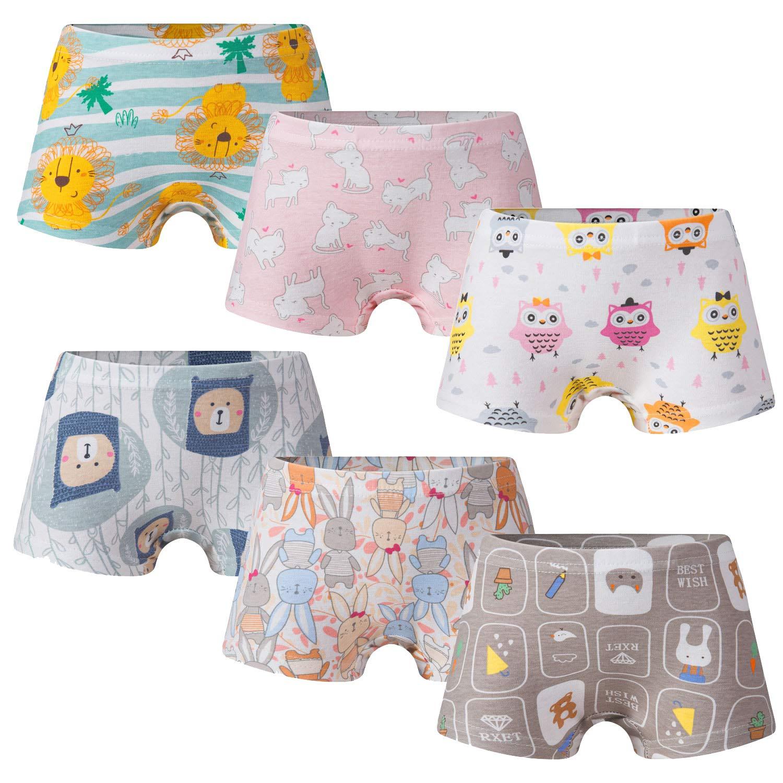 Growth Pal Little Girls' Shorts Panties Boyshort Briefs 6 Pack Soft 100% Cotton Underwear Toddler Undies