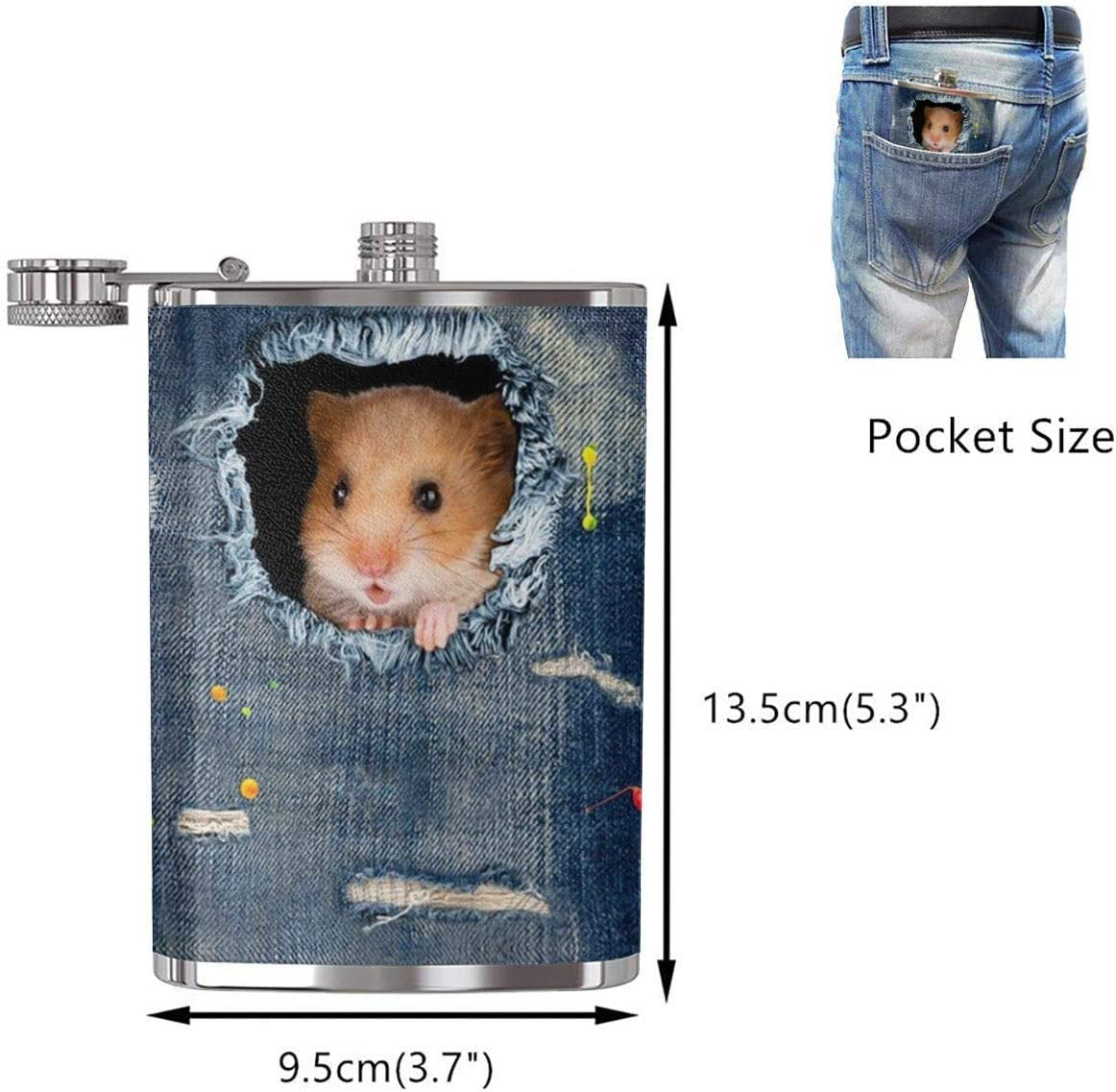 Cute Denim Hamster Hip Flask Acero inoxidable Flagon 8 Oz ...