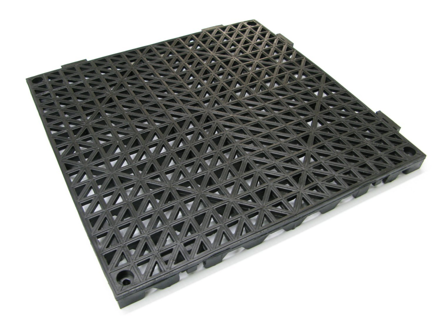 American Floor Mats 12'' x 12'' x 3/4'' PVC Safety Shower Lab Tile Black 4 Pack - 2' x 2' area