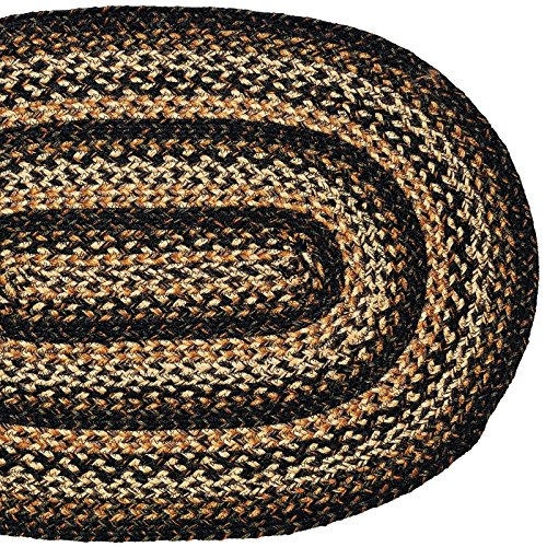 IHF Home Decor Black Forest Oval Jute Braided Area Rug Floor Carpet 27 x 48 Inch
