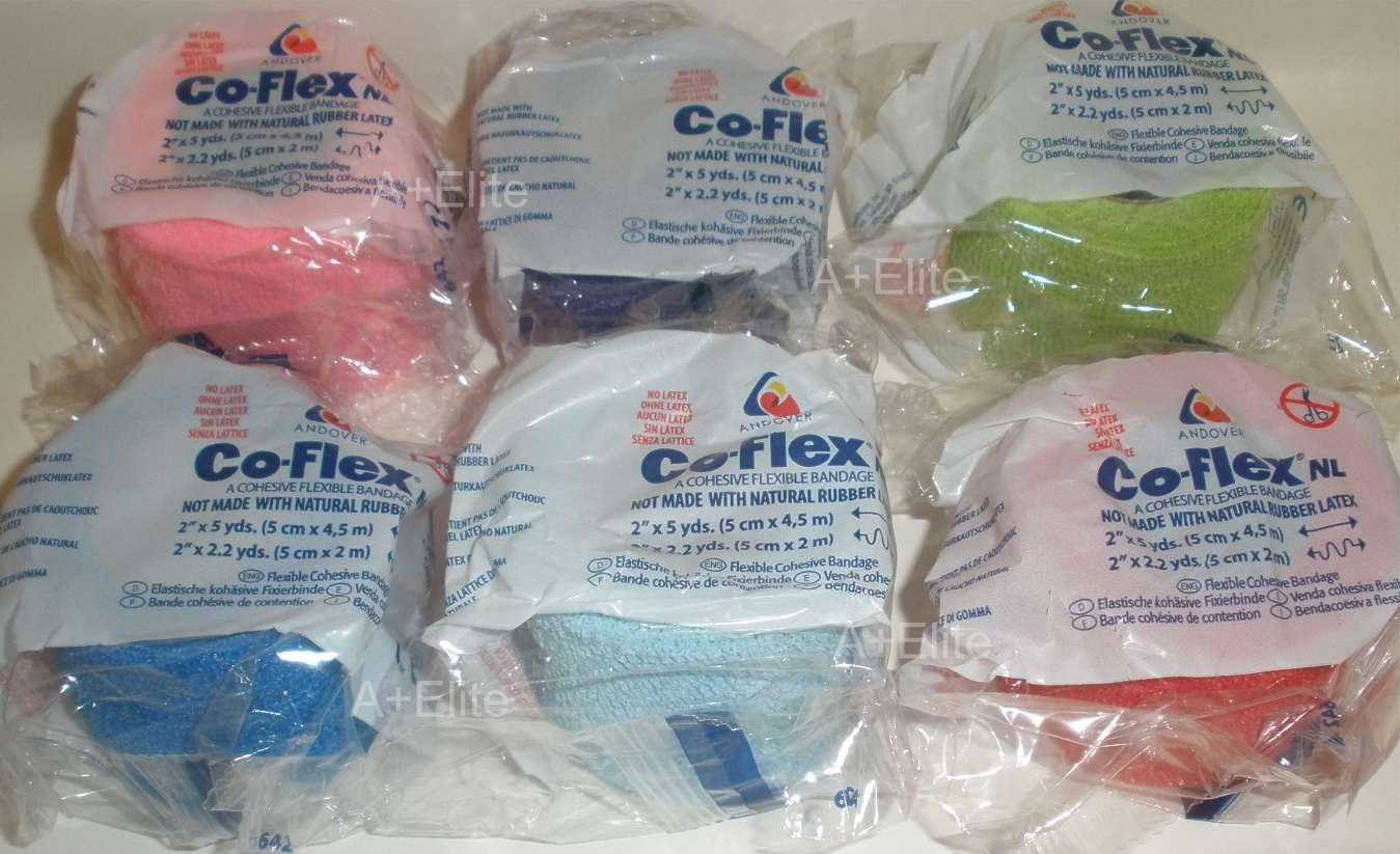 ANDOVER CO-FLEX NL 2''x5Yds Color 6-PACK Cohesive Flexible Elastic Latex Free Bandage Compression Self Adherent Wrap Bright Neon Purple Yellow Blue For Children Animals Pets Cats Dogs Horses 5200CP