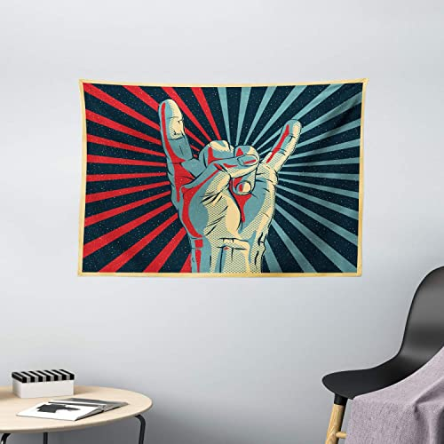 Ambesonne Music Tapestry, Hand in Heavy Rocker Sign Musical Universal Gesturing Thunder Bolts Party People, Wall Hanging for Bedroom Living Room Dorm, 60 W X 40 L Inches, Multi 1