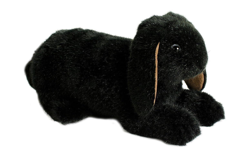 Teddys Rothenburg Kösen, Zwergwidder, 34 cm, sitzend, schwarz, Plüschkaninchen