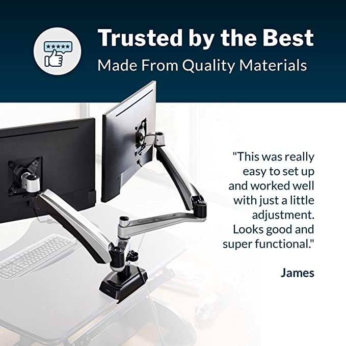 Vari Dual Monitor Arm Full Motion Spring W 360 Degree Articulation Easy Height Adjustment Amazon Ca Electronics