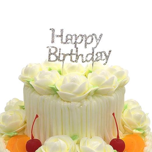 Decoración para tarta de cumpleaños, diseño con brillantes ...