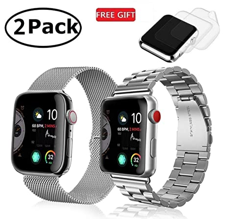 (2 Pack) Watch Band 42mm 44mm Stainless Steel, GP Metal Link Bands Bracelet Compatible Apple Watch Series 4, Series 3, Series 2, Series 1, iwatch ...