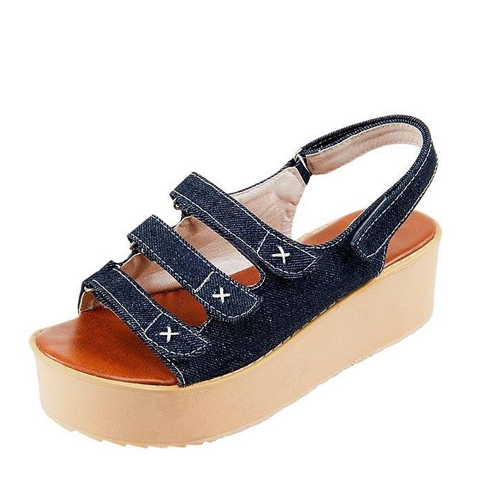 Women's Solid Denim Kitten-Heels Open Toe Hook-and-Loop Flats-Sandals