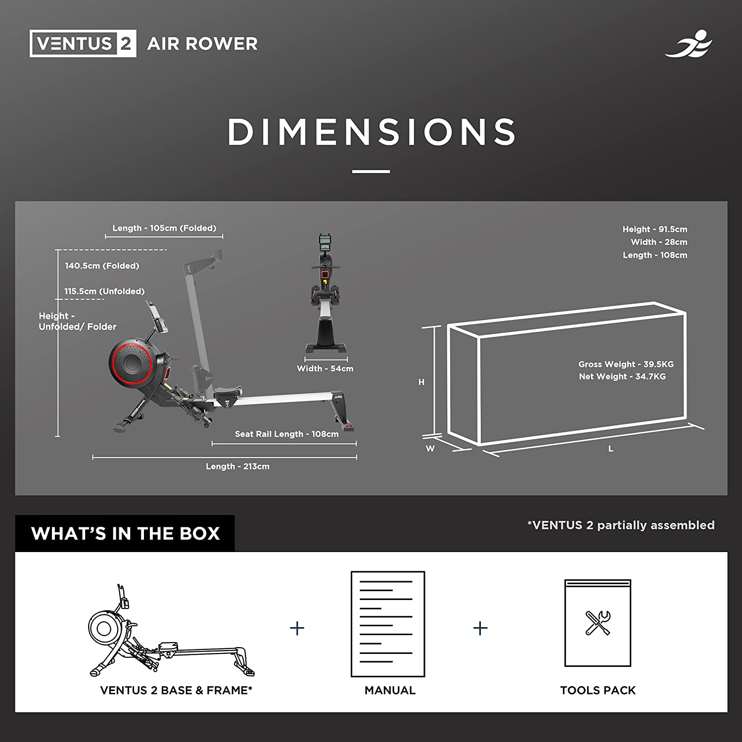 JLL Ventus 2 Air Resistance Home Rowing Machine - Dimensions of the Equipment