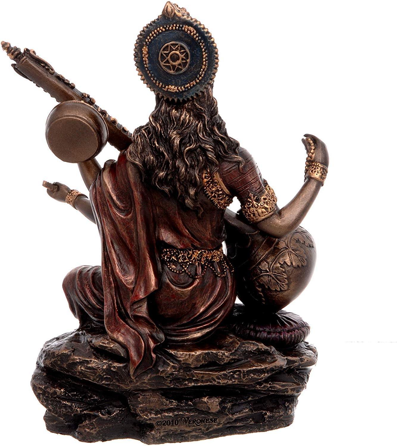 Sculpture D/éesse hindoue de la Connaissance G/én/érique Modfash Ma Saraswati Idol Musique et Art 15 cm de Hauteur x 13,4 cm de Largeur