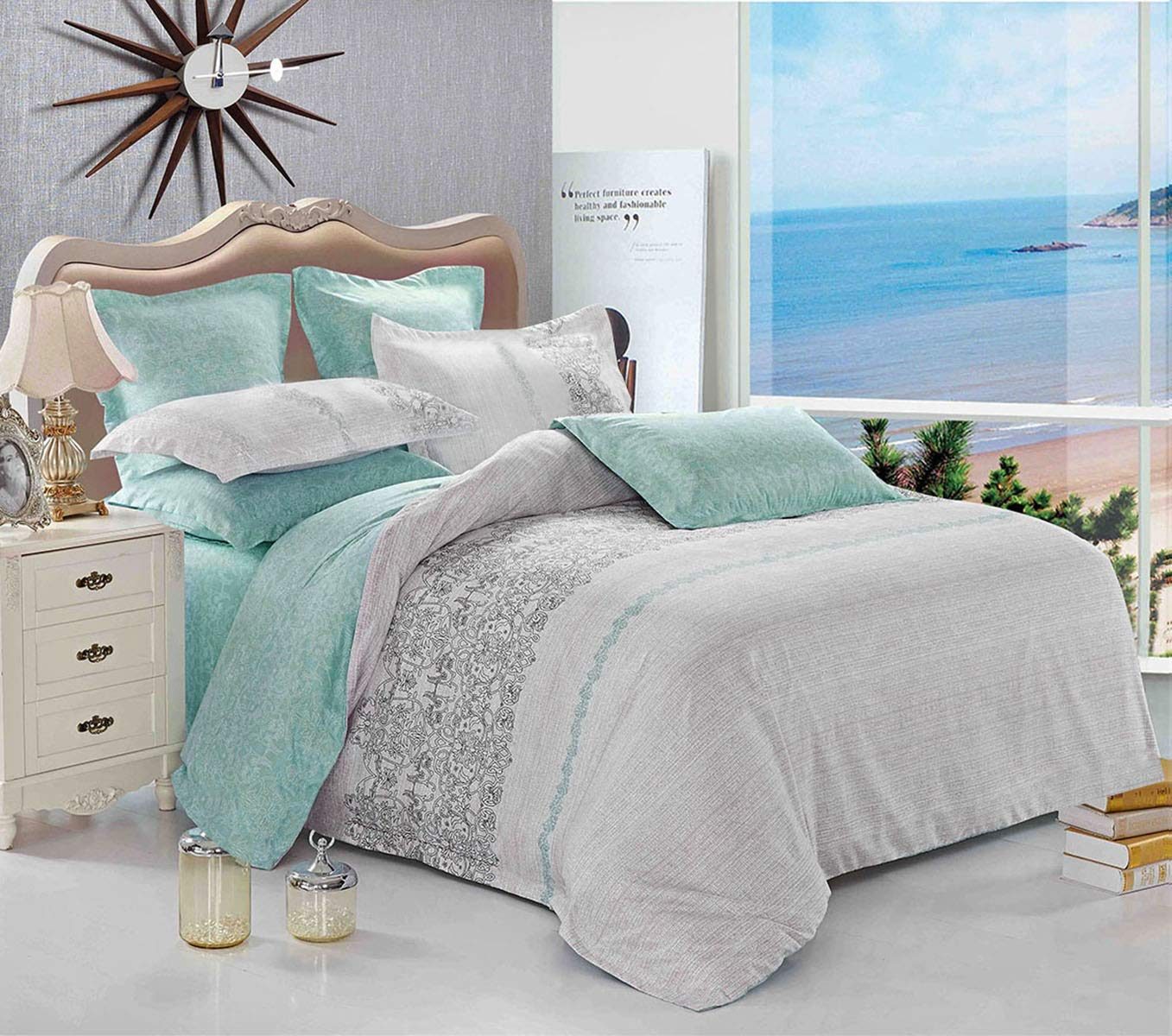 Wake In Cloud - Gray Teal Comforter Set, Reversible with Grey and Turquoise Pattern Printed, Soft Microfiber Bedding (3pcs, Queen Size) by Wake In Cloud (Image #3)