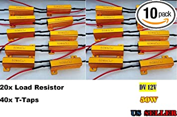 Fix LED Bulb Fast Hyper Flash Yorkim 50W 6ohm Load Resistors Warning Cancellor Turn Signal led Blink or Festoon Error Message Pack of 4