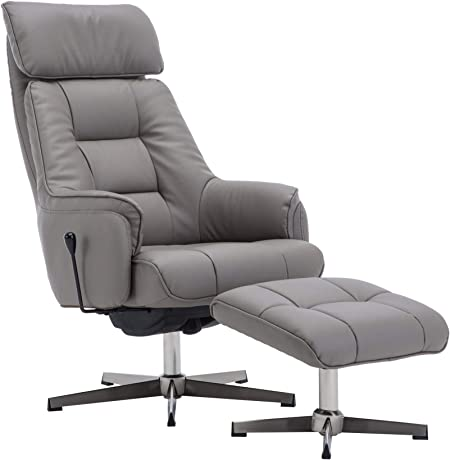 The Auckland Grey Plush Leather Swivel Recliner Chair with