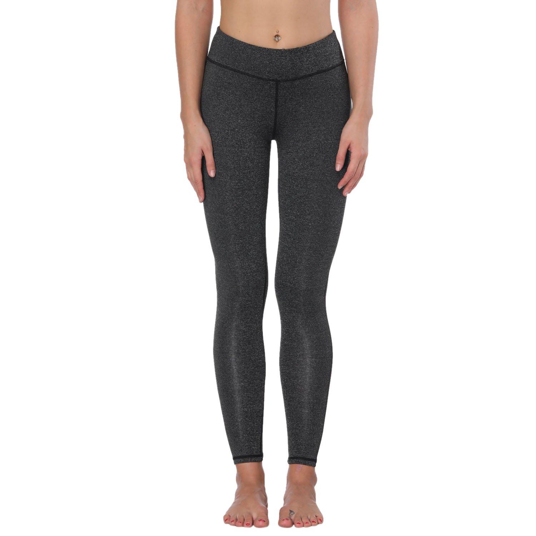 Basicdeep Grey FEIVO Yoga Pants, Womens Power Flex Yoga Pants Tummy Control Workout Yoga Capris