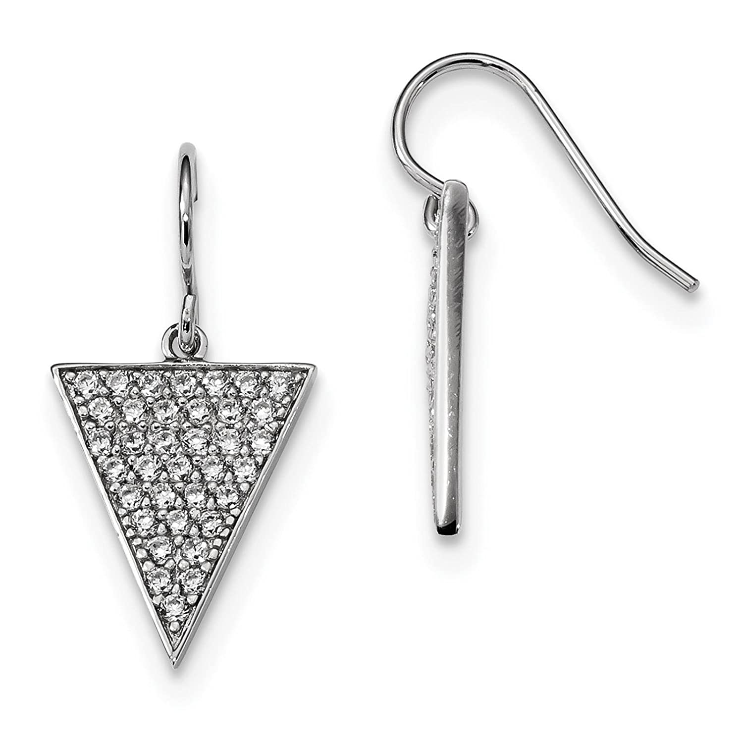 925 Sterling Silver Rhodium-plated CZ Triangle Dangle Earrings