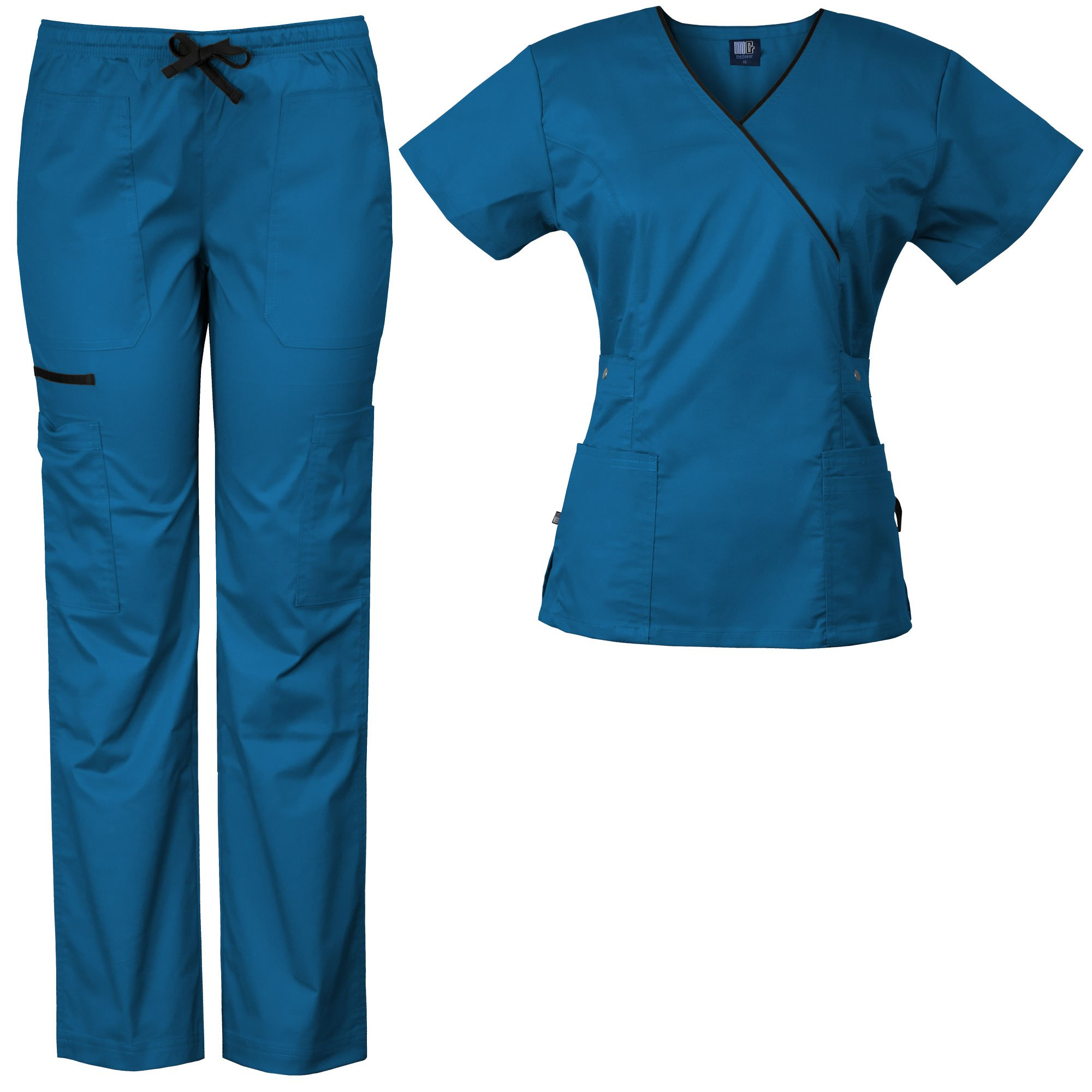 Medgear Women's Stretch Scrubs Set 5-Pocket Top & Multi-Pocket Pants (2XL, Aster Blue)