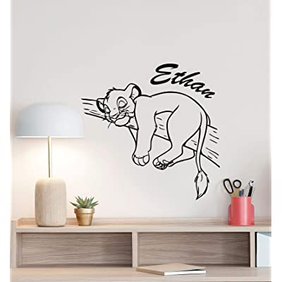 Personalized Simba Lion King Wall Decal Custom Name Poster Boy Sign Disney Quote Vinyl Sticker Gift Kids Room Decor Playroom Wall - Made in USA-Fast delivery: Home & Kitchen