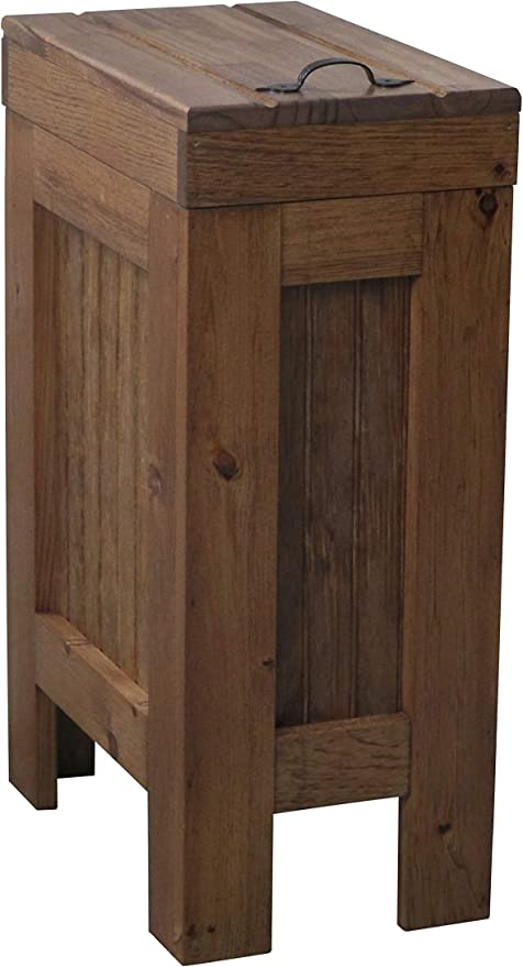 Amazon Com Wood Wooden Trash Bin Kitchen Garbage Can 13 Gallon Recycle Bin Dog Food Storage Early American Stain Rustic Pine Metal Handle Handmade In Usa By Buffalowoodshop Home Kitchen