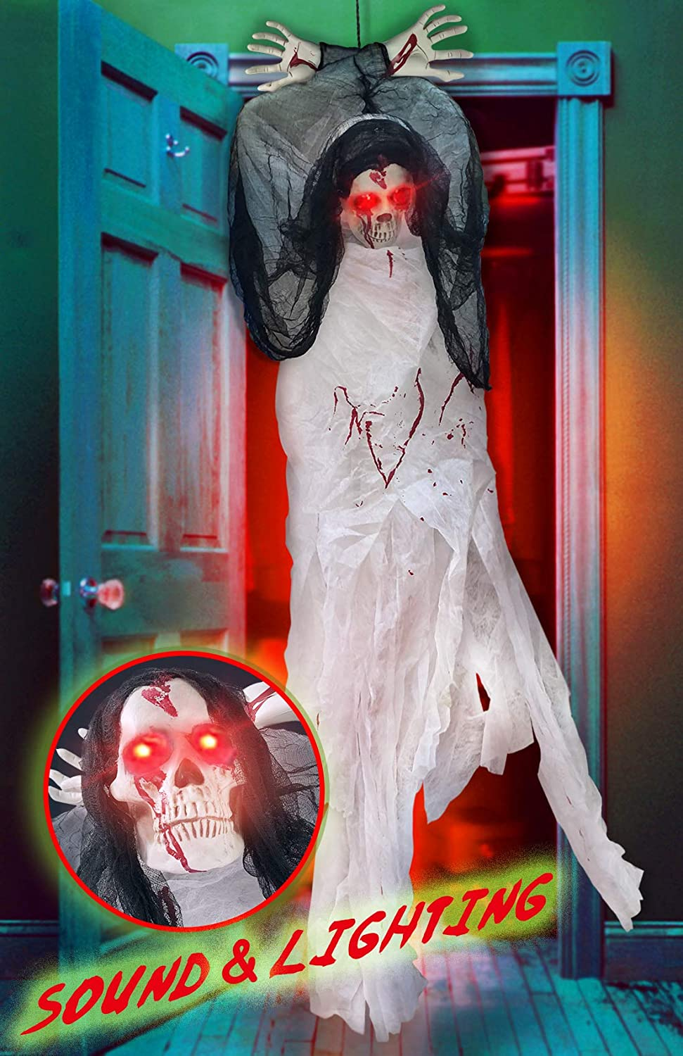 5Ft Halloween Decorations Hanging Ghost Scary Prop Skull Outdoor Indoor Large Animated Life-size with LED Glowing Eyes and Creepy Shrilling Sound Grim Reaper with Bendable Arms for Haunted House Party Favor