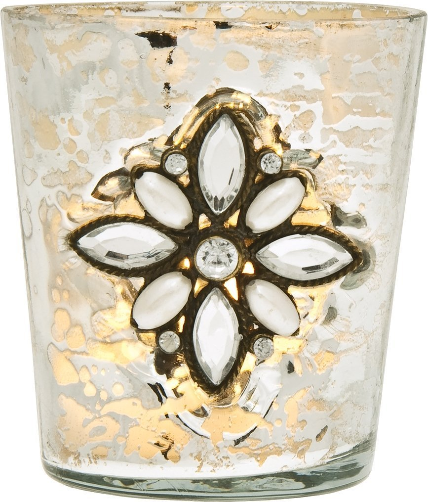 Silver Mercury Glass Tea Light Candle Holder Bejeweled Tiffany Design - Add magic to the Christmas holiday table with silver mercury glass bejeweled Tiffany design tea light candle holders. | ChristmasTablescapeDecor.com