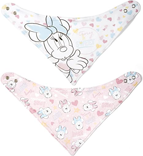 Lulabi Disney Minnie Tender, juego de 2 baberos bandana, algodón, 0 +, Rosa: Amazon.es: Bebé