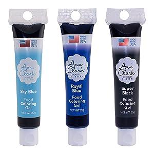 Ann Clark Cookie Cutters Shark Week Food Coloring Gel 3 Pack with Royal Blue, Black and Sky Blue