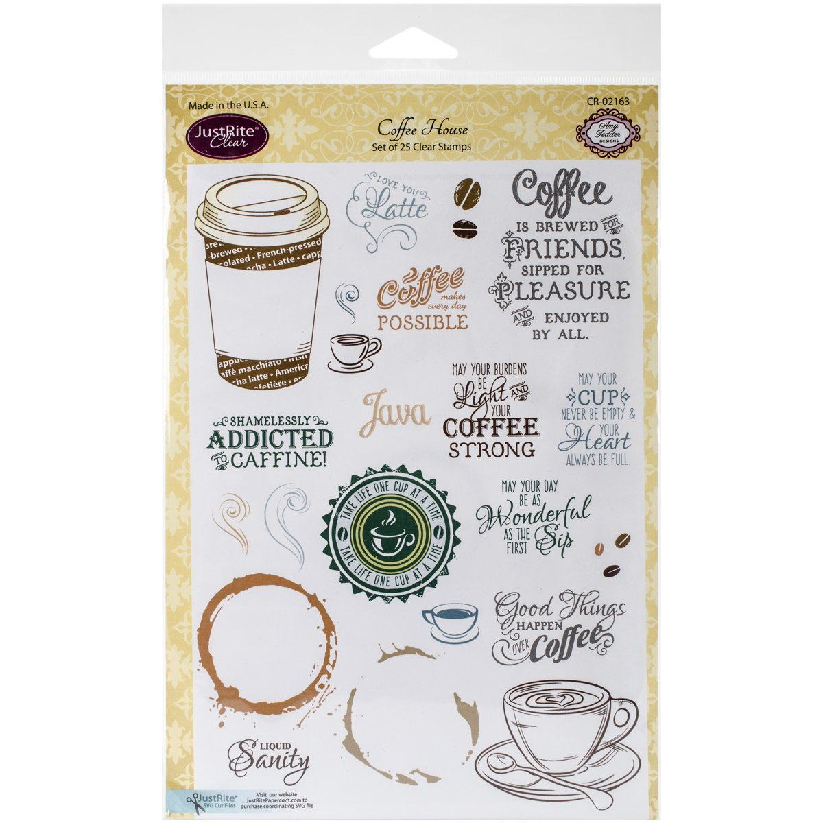 Justrite CR-02163 Papercraft Coffee House Clear Stamp Set, 6x8-Inch Justrite Papercraft CR02163