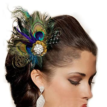 Jelinda women s peacock Bridal headband feather fascinator Headpiece hair  accessories (1) cd4d2782f91