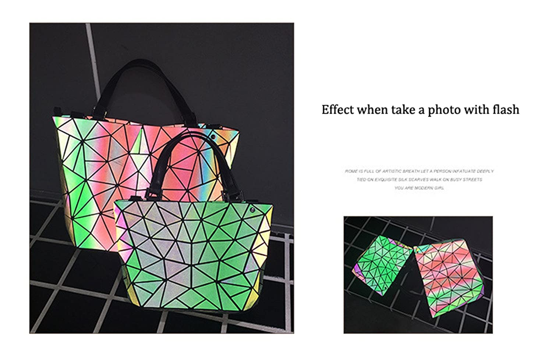 Irregular Women Handbags Folding Bao Bao Bag Casual Laser Top-Handle Bags Quality Geometric Shoulder Bag Female Handbag