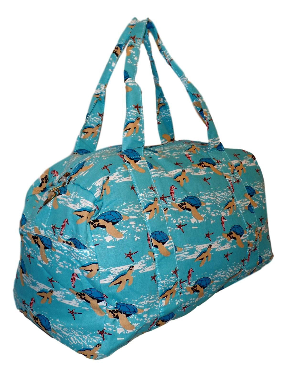 Sona G Designs - Overnighter Large Travel Duffle Duffel Bag - Monogram Personalization Available (Aqua Sea with Turtles)