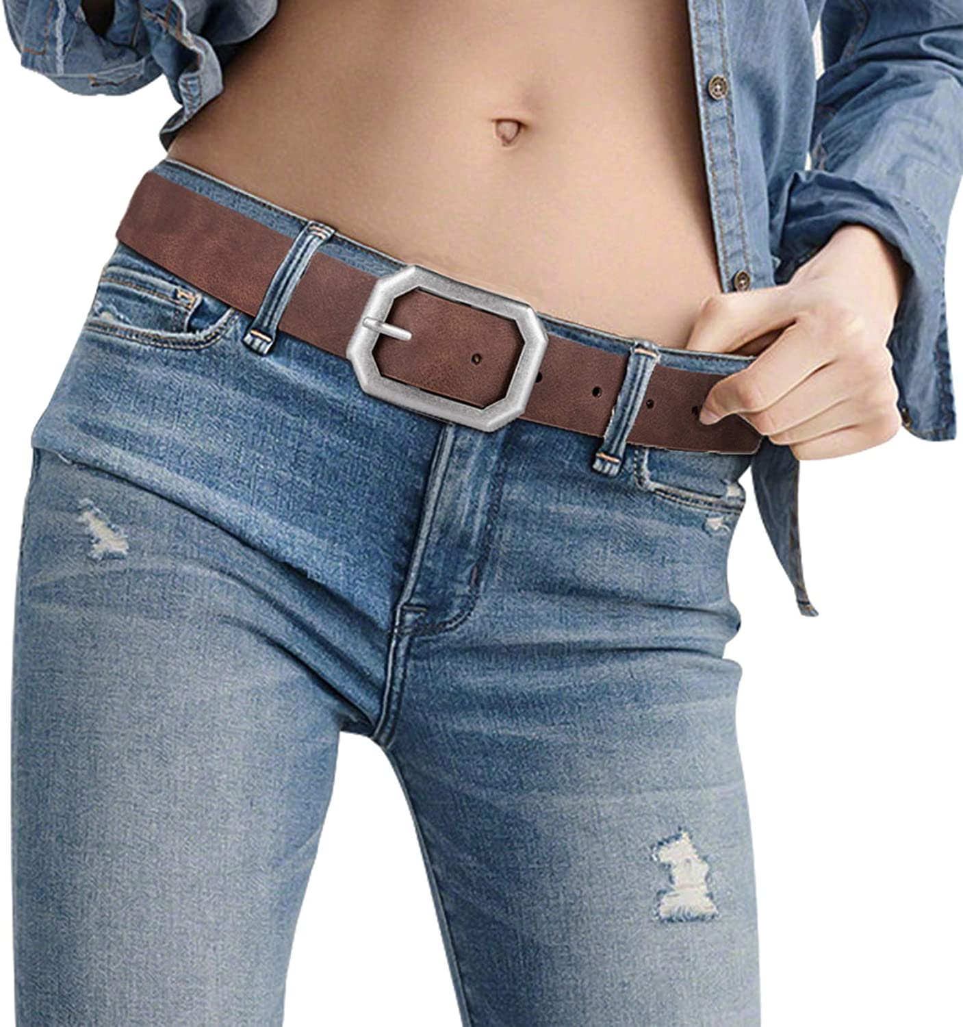 "Reversible Leather Belts for Women with 1.25"" Wide Solid Brown Western Waist Sash Waistband Men Silver belt Buckle"