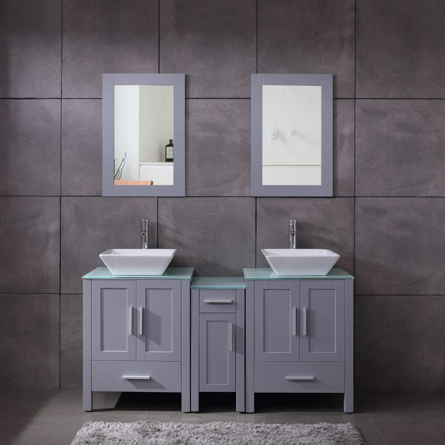 Amazon Com 60 Double Sink Gray Bathroom Vanity Mdf Wood Cabinet Glass Top W Mirror Faucet Drain Set Kitchen Dining
