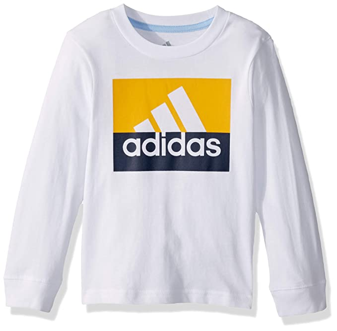 adidas Boys' Toddler Long Sleeve Cotton Jersey Logo T-Shirt, White Tricolor, 3T