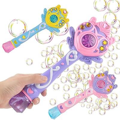 Naisidier Burbuja eléctrica Juguete máquina Burbuja Pistola Varita mágica luz a soplador de Burbujas con Luces Intermitentes y Sonidos Hermosos Juguetes para niños: Hogar