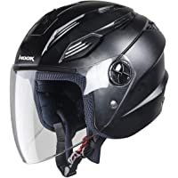 Steelbird SBA-6 Hook Dashing Open Face Helmet (Large 600 MM, Dashing Black with Plain Visor)