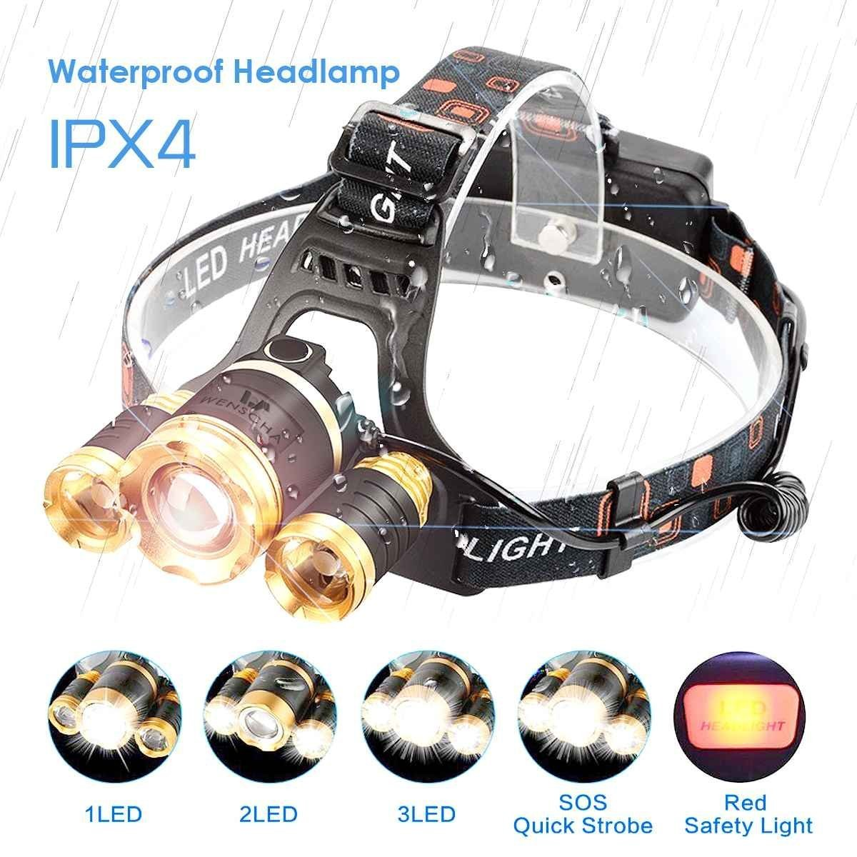 Wenscha LED Head Torch, Rechargeable Powerful Camping Lamp 4 Modes Light T6 Focus with Elastic Strap and Swivel for Hiking Camping Trekking Adventure (battery included and a small gift)