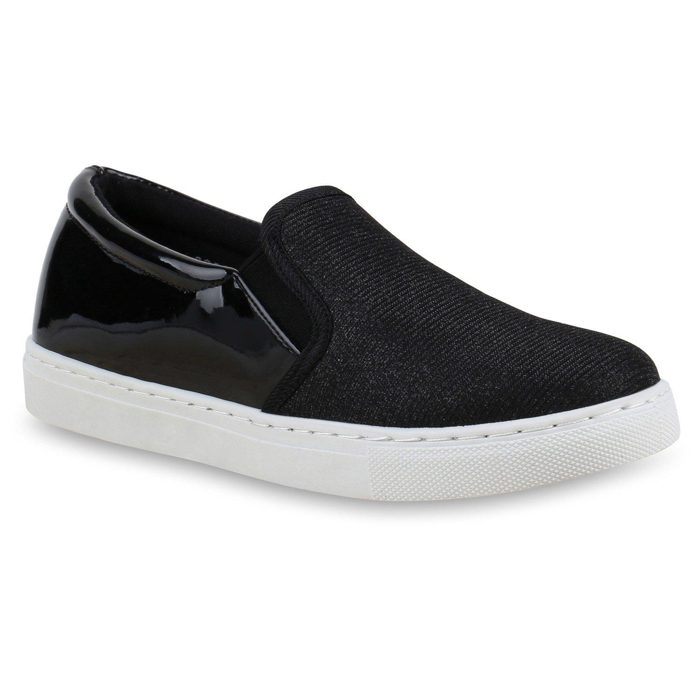 Stiefelparadies Unisex Ons Damen Herren Sneaker Slip Ons Unisex Übergrößen Flandell Schwarz 596f04