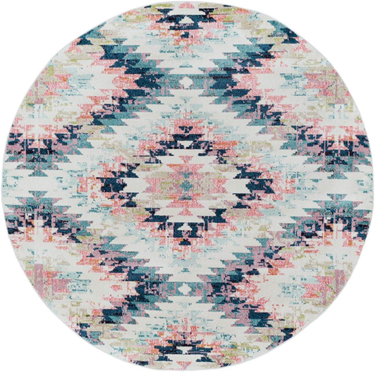 Lewisberry 7 10 Southwestern Area Rug – Round Native American Rug – Polypropylene – White, Beige, Camel, Aqua, Teal, Dark Blue, Bright Pink, Lime, Black, Charcoal