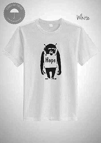 Banksy Funny Monkey Chimp Hope T-Shirt     - Amazon com