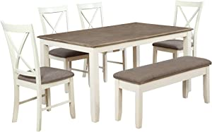 Powell Furniture Jane 6 Piece Dining Set, Antique White