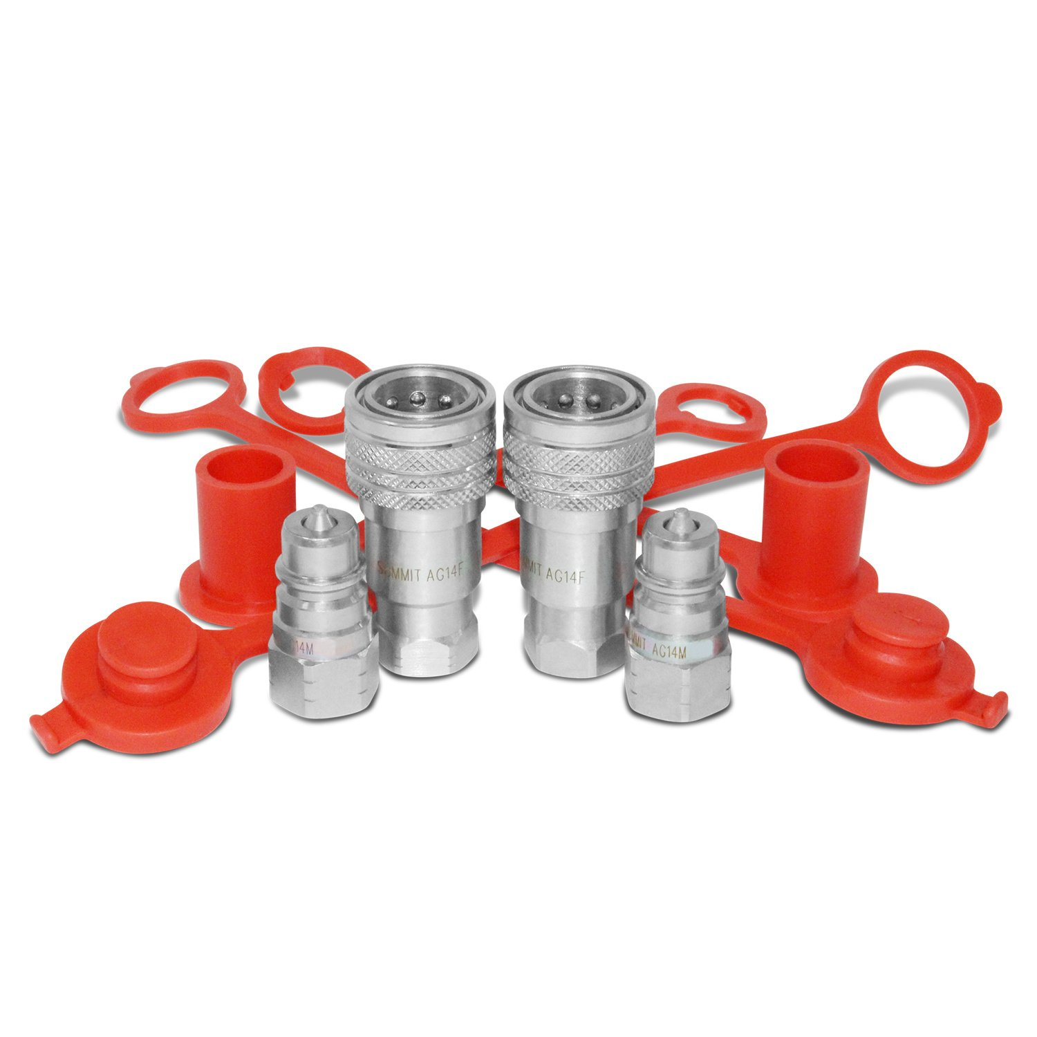 1/4'' Ag ISO 5675 Hydraulic Quick Connect Couplers, 3/8'' SAE (9/16''-18 ORB) Thread, 2 Sets