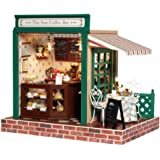Rylai Wooden Handmade Dollhouse Miniature DIY Kit - The Star Coffee Bar Series Wooden Dollhouses with Furniture/Parts& Furniture X'mas Gift( 1:24 Scale Dollhouse)