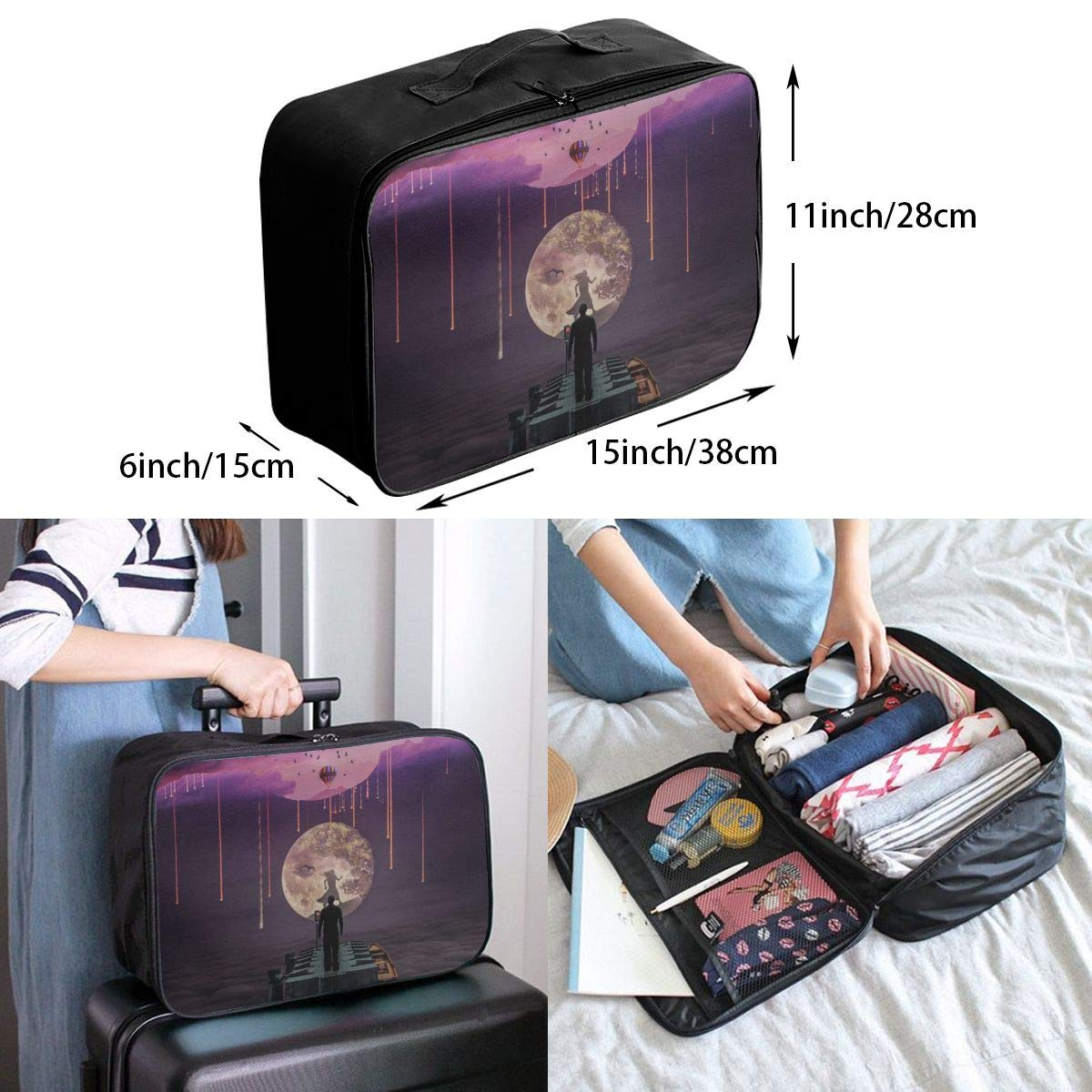 Witch Girl In Moon Travel Lightweight Waterproof Foldable Storage Portable Luggage Duffle Tote Bag Large Capacity In Trolley Handle Bags 6x11x15 Inch