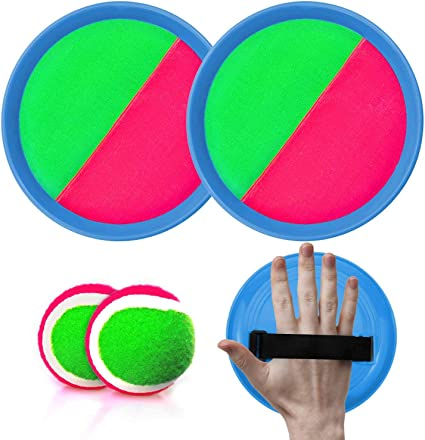Amazon Com Lamourlove Toss Balls And Catch Game Paddle Toss And Catch Ball Set Sticky Ball Set Paddle Ball Catch Set Sticky Balls For Kids Beach Paddle Ball Game Toys With 2 Paddles