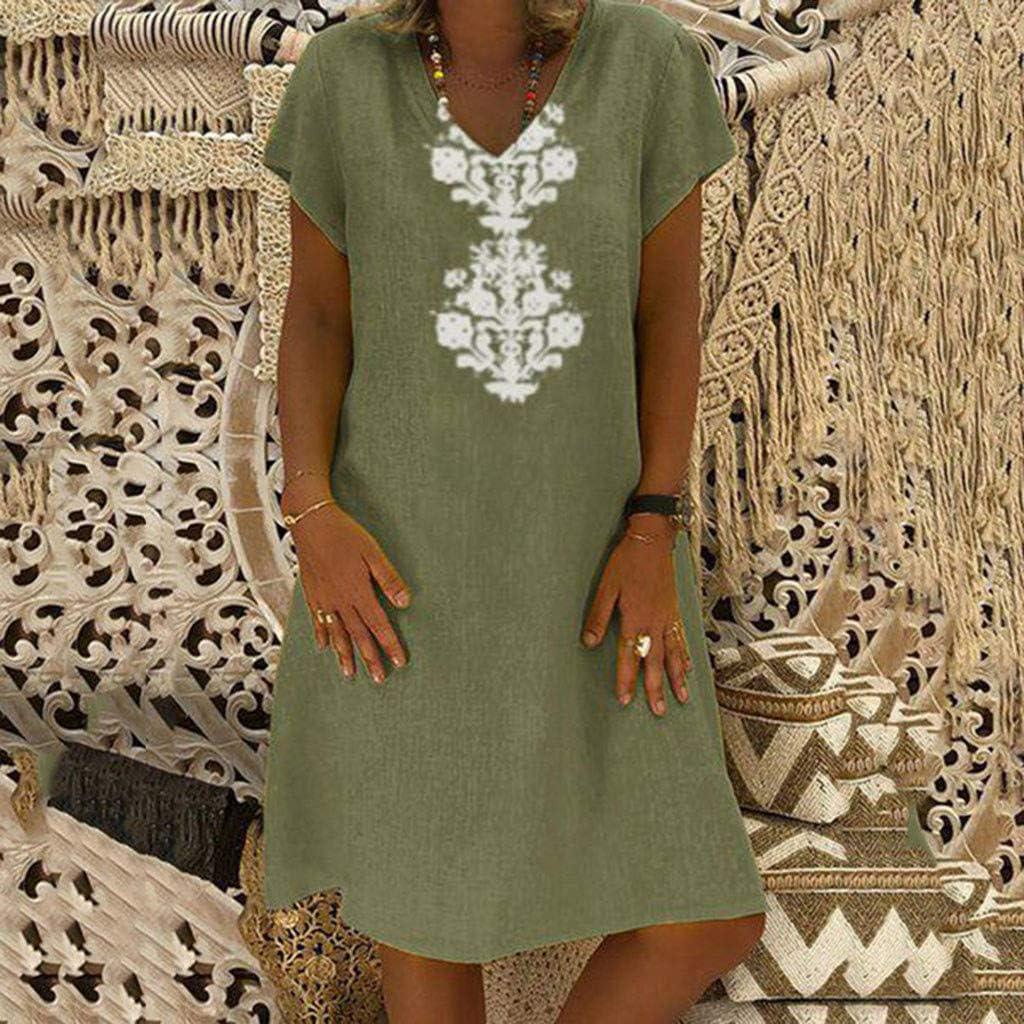 Quealent Womens Dress Sweet /& Cute O Neck Bell Sleeve Shift Dresses Summer Loose Swing Casual Mini Dress