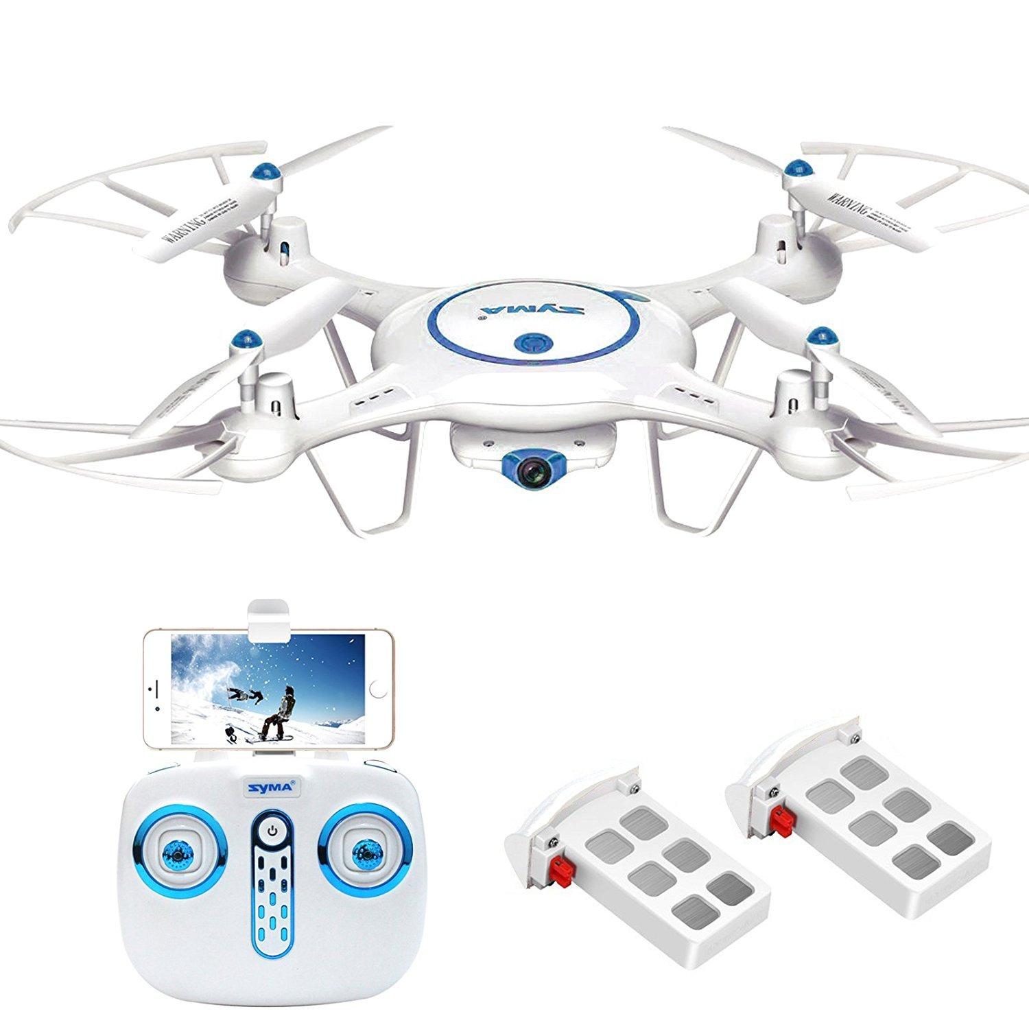 Syma X5UW Wifi FPV Drone with 720P HD Camera 2.4Ghz RC Quadcopter with Flight Route Setting and Altitude Hold Function Bonus Battery Included