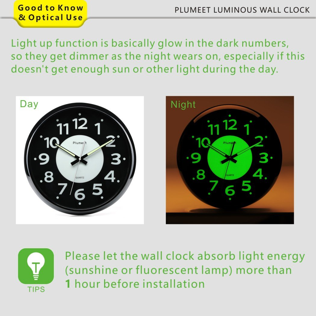 Glow In The Dark Wall Clock Amazon Images Home Wall Decoration Ideas