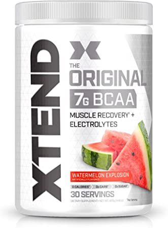 XTEND Original BCAA Powder Watermelon Explosion - Sugar Free Post Workout Muscle Recovery Drink with Amino Acids - 7g BCAAs for Men & Women - 30 Servings
