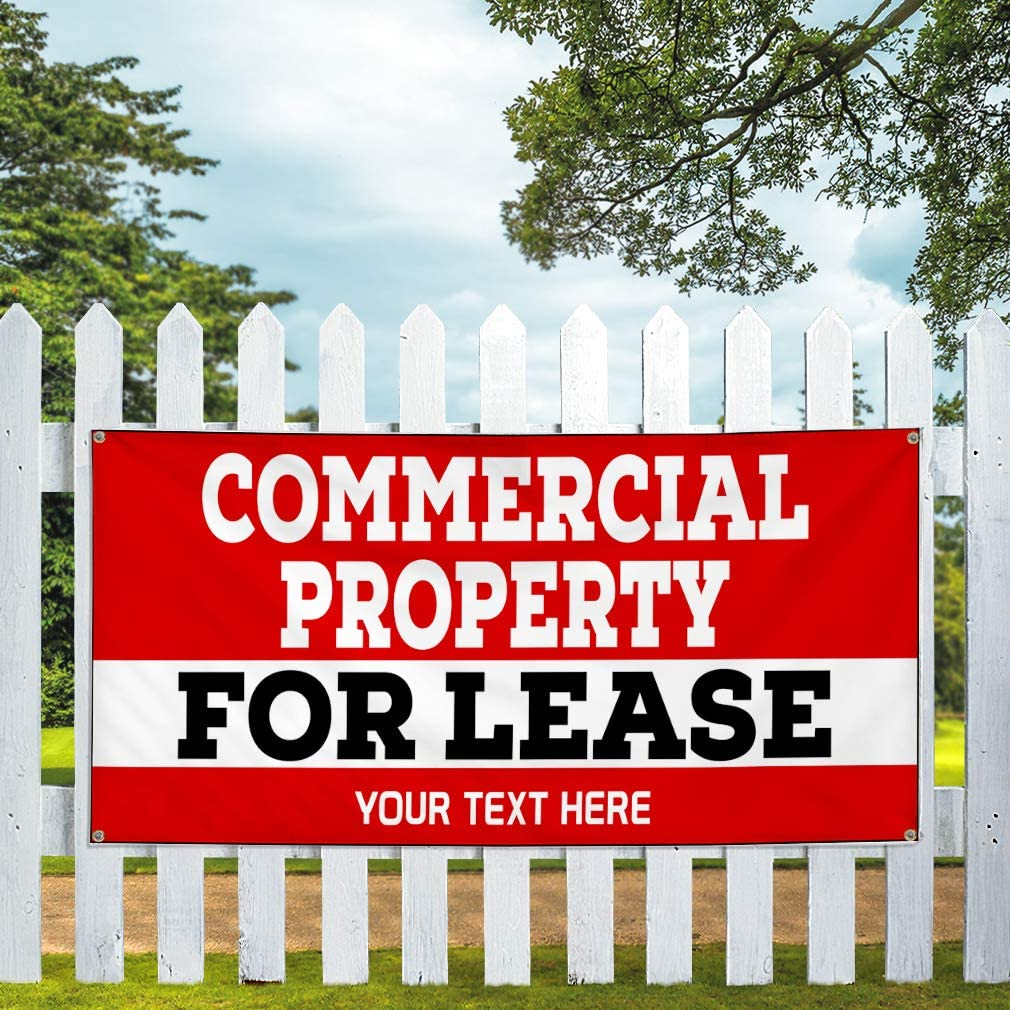 Custom Industrial Vinyl Banner Multiple Sizes Commercial Property for Lease Personalized Text Profession Outdoor Weatherproof Yard Signs Red 6 Grommets 36x90Inches